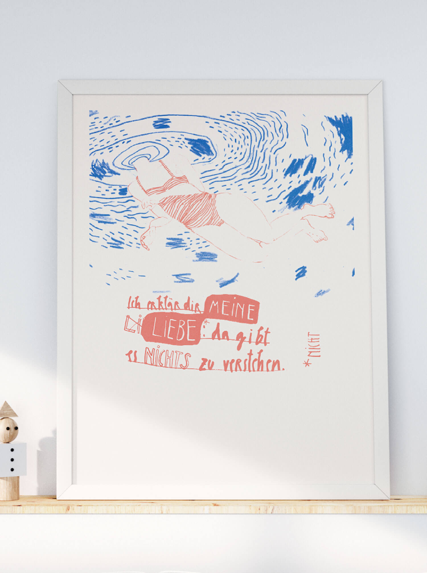 Plakat Liebe erklären, Matrosenhunde, Illustration, Ich erklär dir meine Liebe nicht, Berlin, Schwimmerin, Valentinstag, Liebe, love, Risographie, Risografie, Print, Druck, Poster, Fine Art,
