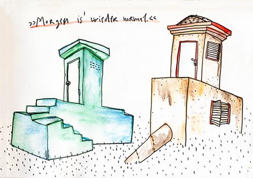 Matrosenhunde Wochenkalender Morgen is wieder normal Haus zwei Häuser Treppe Landschaft Architektur Thron Stuh Stühlin Mann Frau Tür Fensterladen Rohr