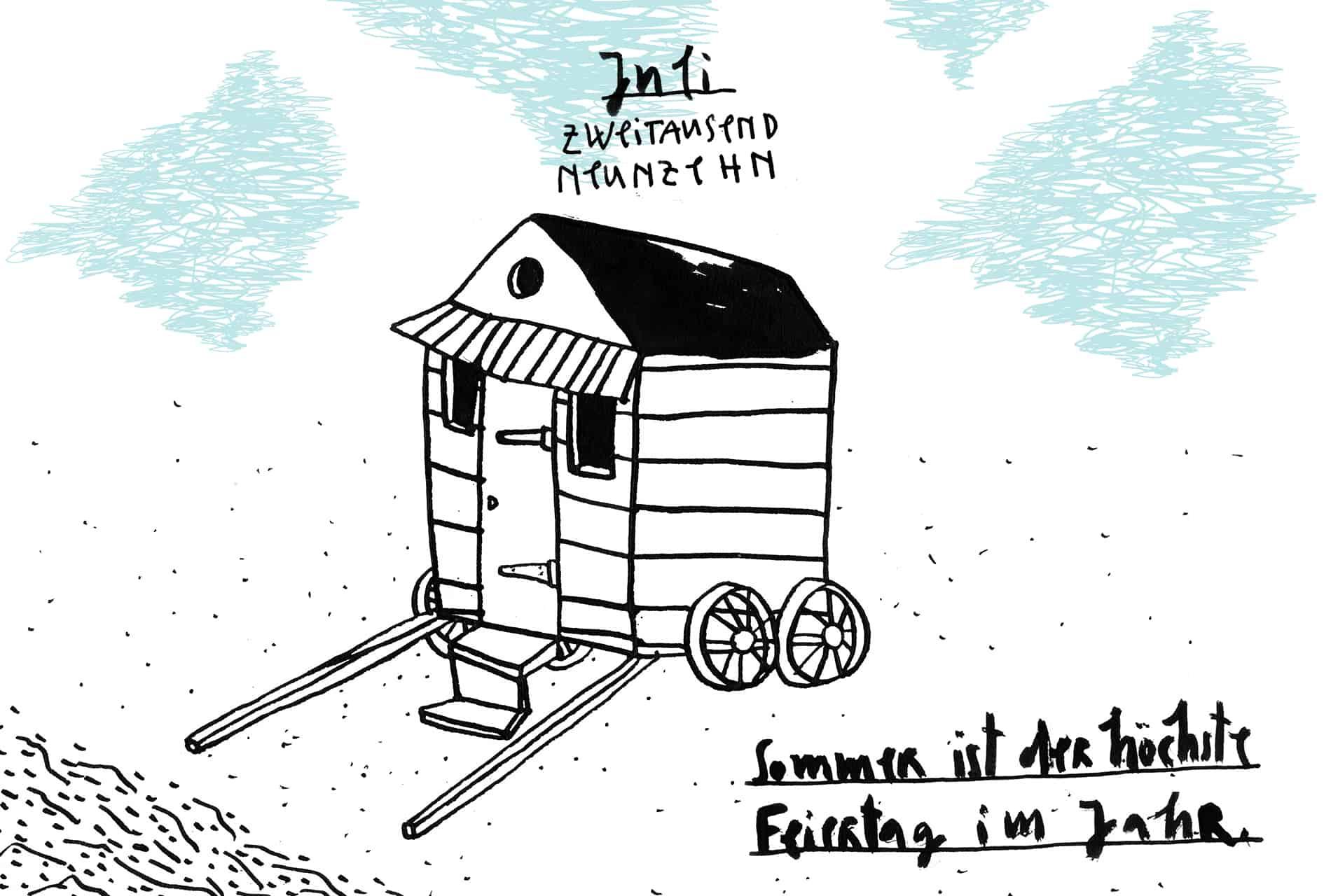 Matrosenhunde Illustration Zeichnung Illustratorin Text Prosa Monatskalender juli Strand Badehaus