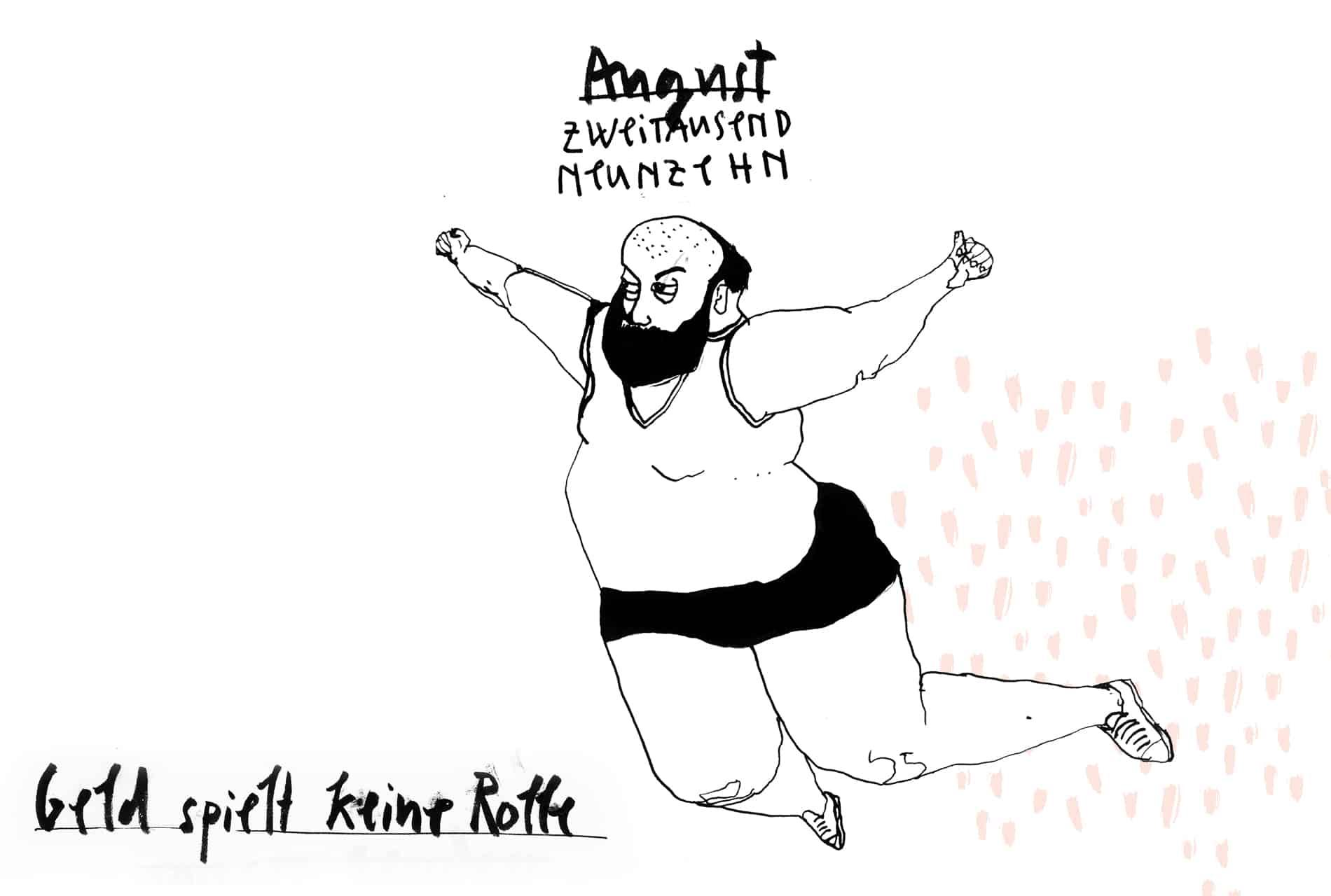 Matrosenhunde Illustration Zeichnung Illustratorin Text Prosa Monatskalender August Geld spielt keine Rolle