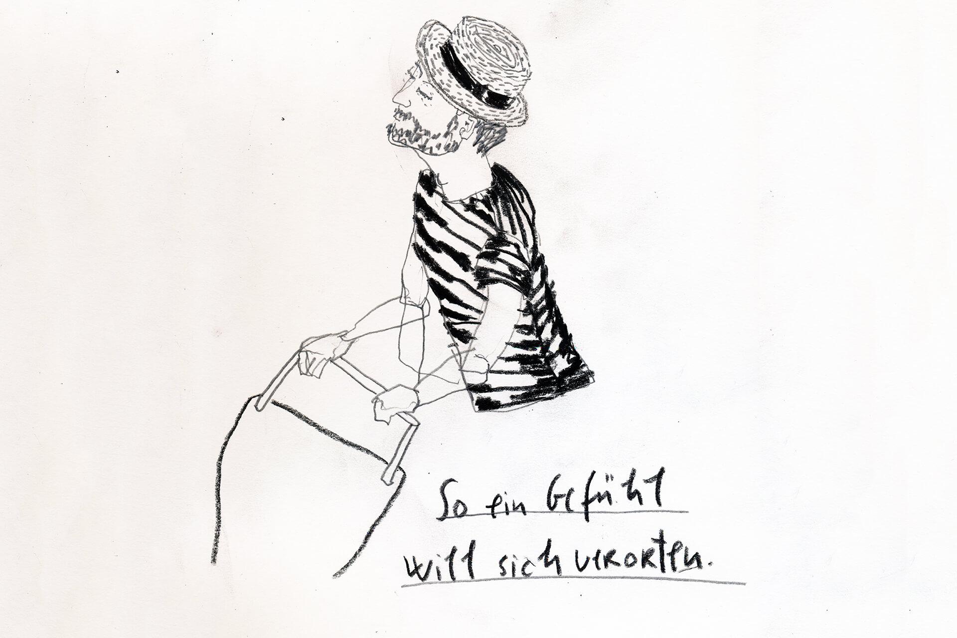 Matrosenhunde Illustration Zeichnung Illustratorin Text Prosa Wochenkalender So ein Gefühl will sich erst verorten