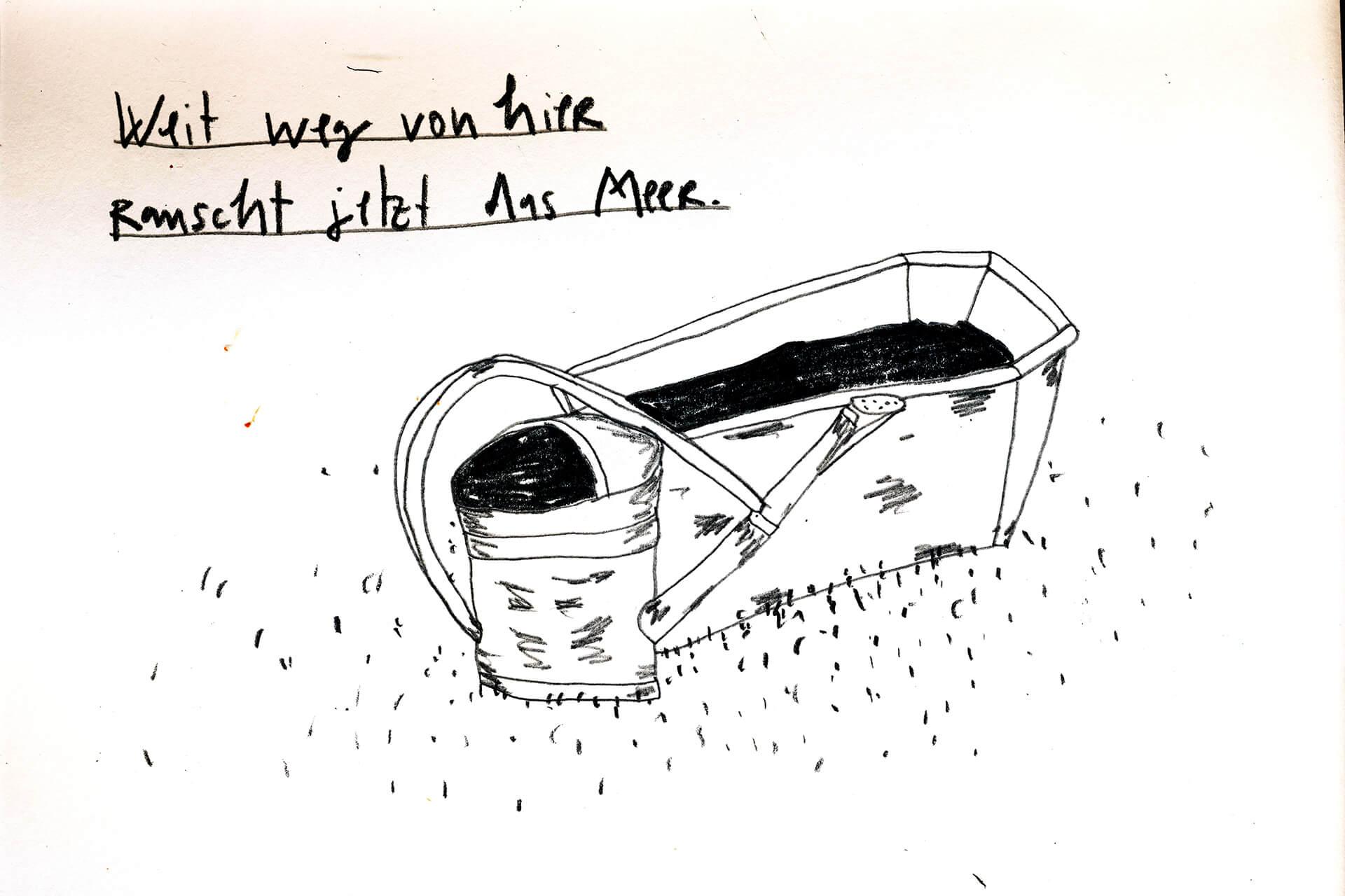 Matrosenhunde Illustration Zeichnung Illustratorin Text Prosa Wochenkalender Weit weg von hier rauscht jetzt das Meer