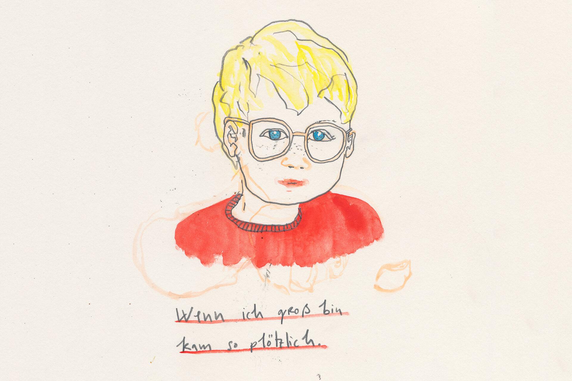 Matrosenhunde Illustration Zeichnung Illustratorin Text Prosa Wochenkalender Zeichnung Illustration Wenn ich groß bin kam so plötzlich