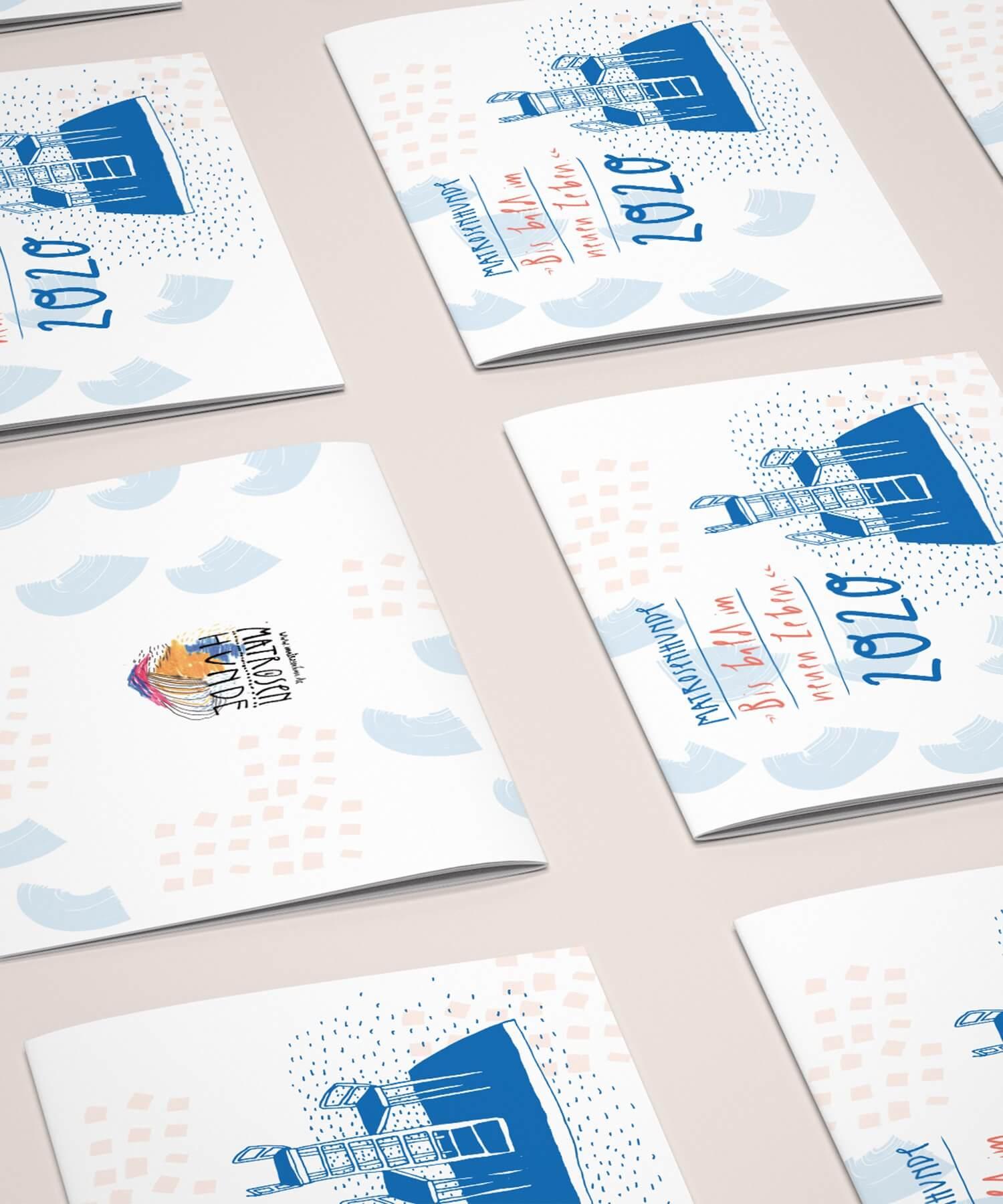 Matrosenhunde Illustration zeichnung Kalender 2020 Papierkalender Kunstkalender Illustrationskalender