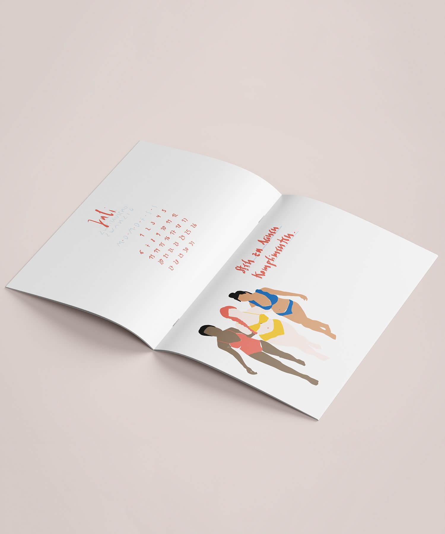Matrosenhunde Illustration zeichnung Kalender 2020 Papierkalender Kunstkalender IllustrationskalenderJuli