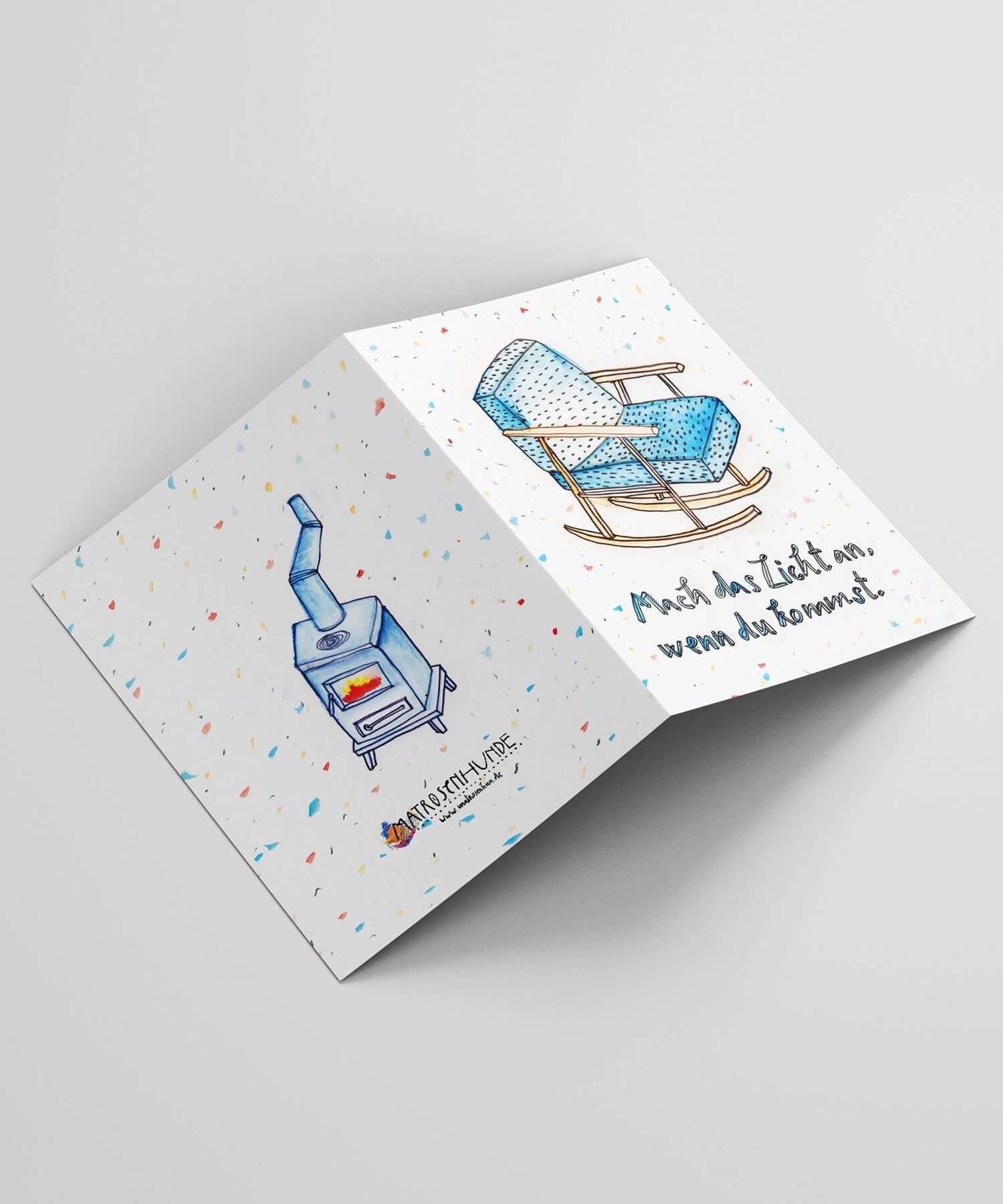 Weihnachtskarte, Neujahrskarte, Matrosenhunde, Illustration, Schaukelstuhl, hygge, hyggelig, gemütlich, Gemütlichkeit, Berlin, Vorweihnachtszeit, advent, kamin, kaminfeuer, wärme, zeichnung