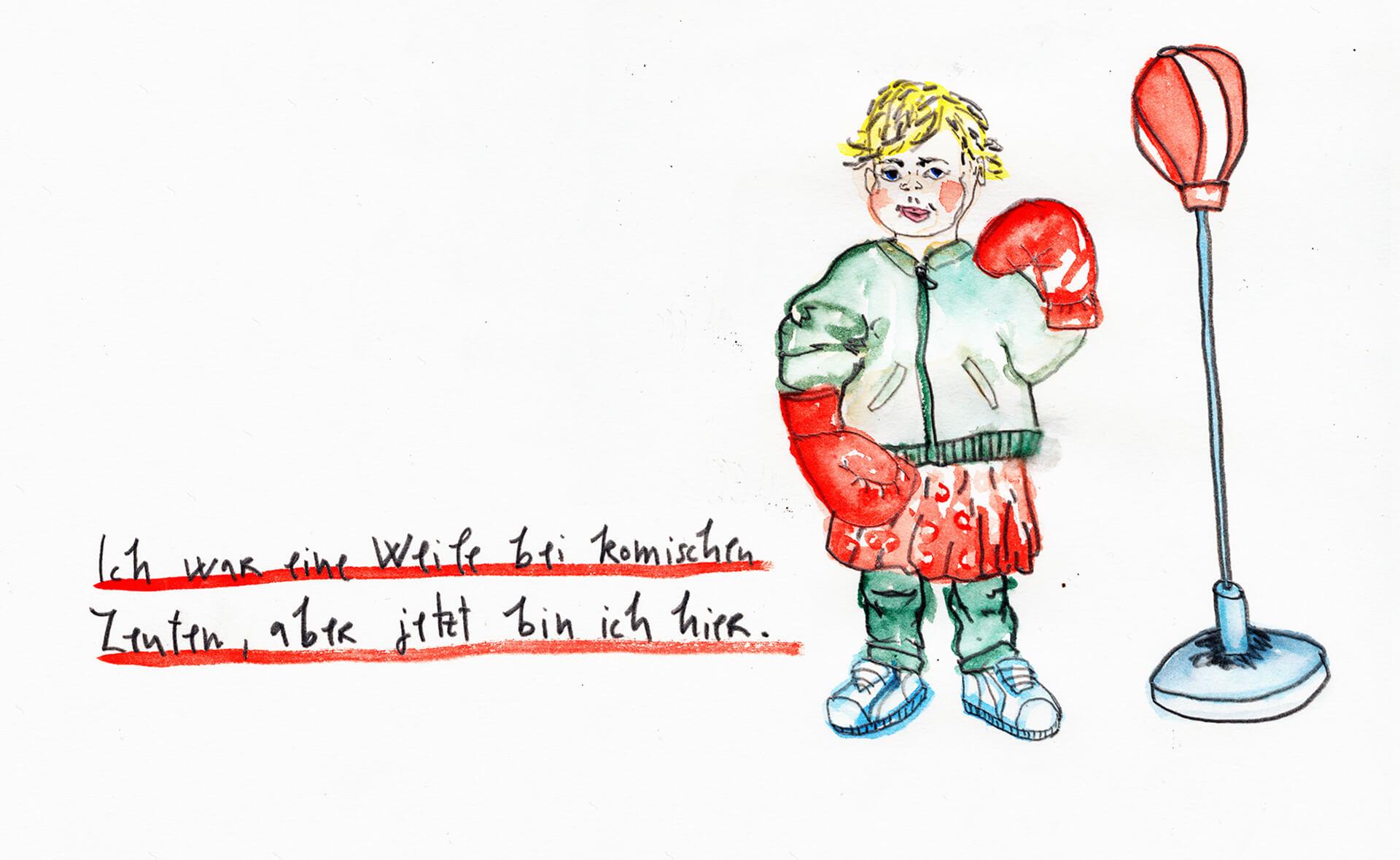 Matrosenhunde Wochenkalender Illustration, Kind, Boxhandschuhe, Zecihnung, Kleid, Junge, Sneaker, punching ball, neue Jungs