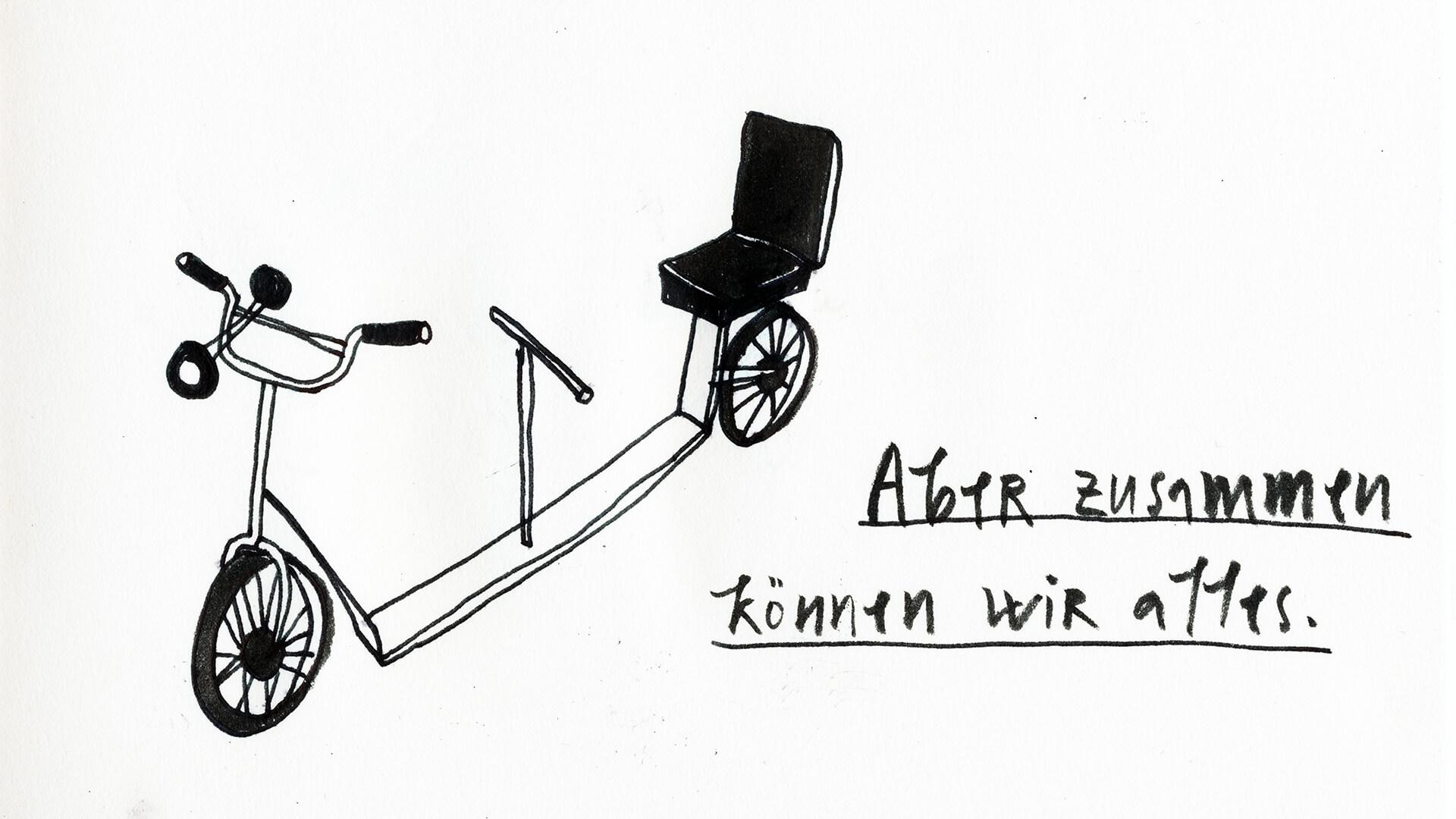 Matrosenhunde, Wochenkalender, Illustration, Berlin, Zusammen können wir alles, Tretroller, Tandem, scooter, together