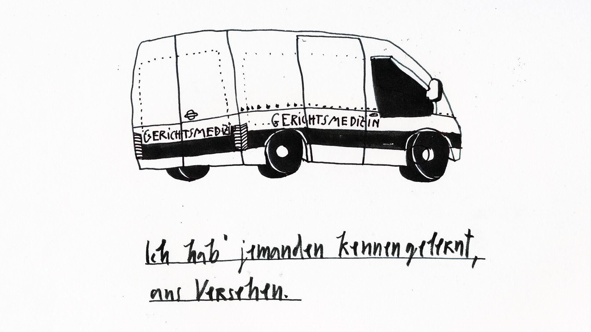 Matrosenhunde, Wochenkalender, Illustration, Zeichnung, Berlin, Transporter, Gerichtsmedizin, Leiche, Tatort, Mord, Auto, fahren