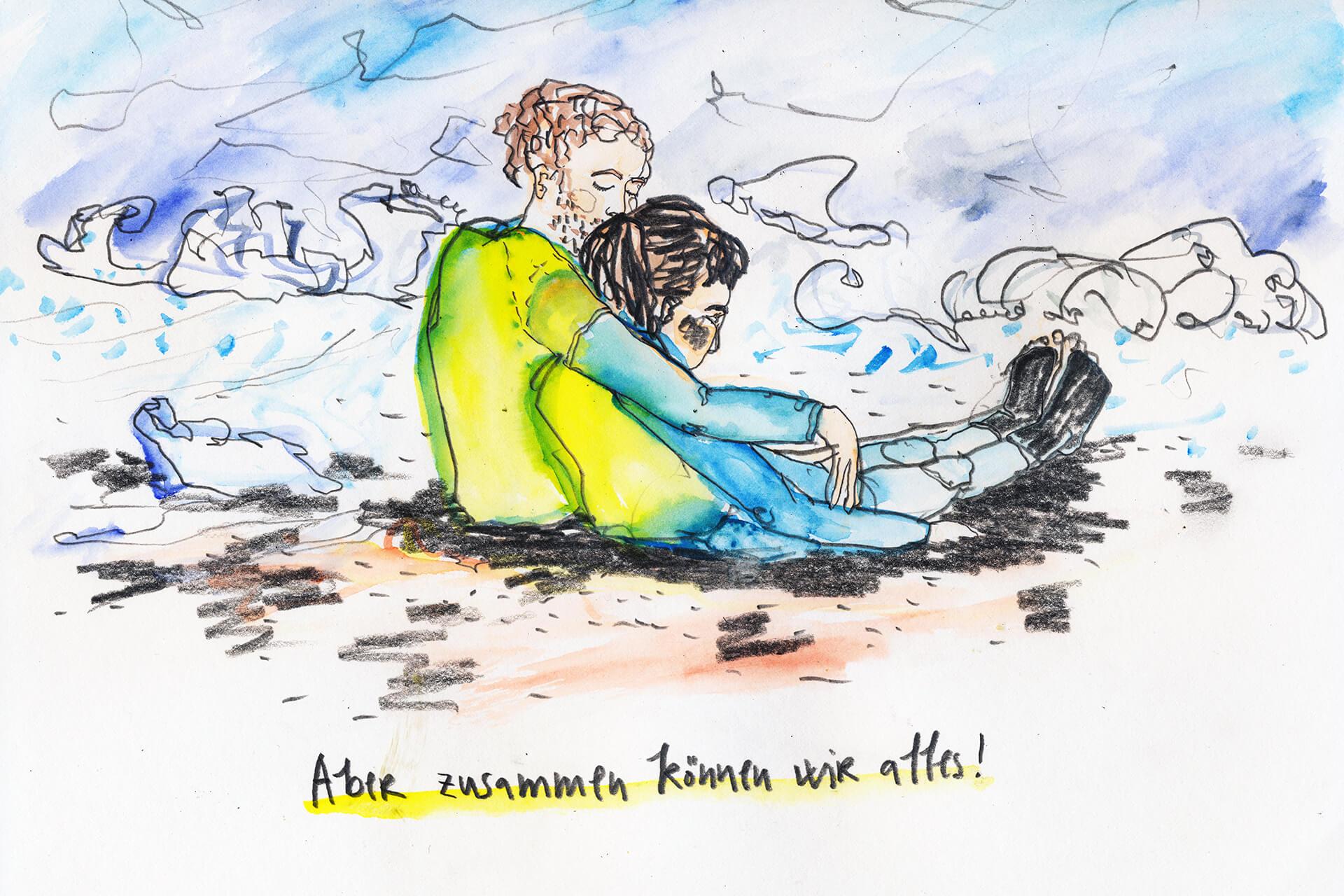 Matrosenhunde, Illustration Berlin, Text, Paar, Romantik, Zeichnung, Surfen, Brandung, Zusammen, Wochekalender, Mann, Frau, couple, Liebe, love