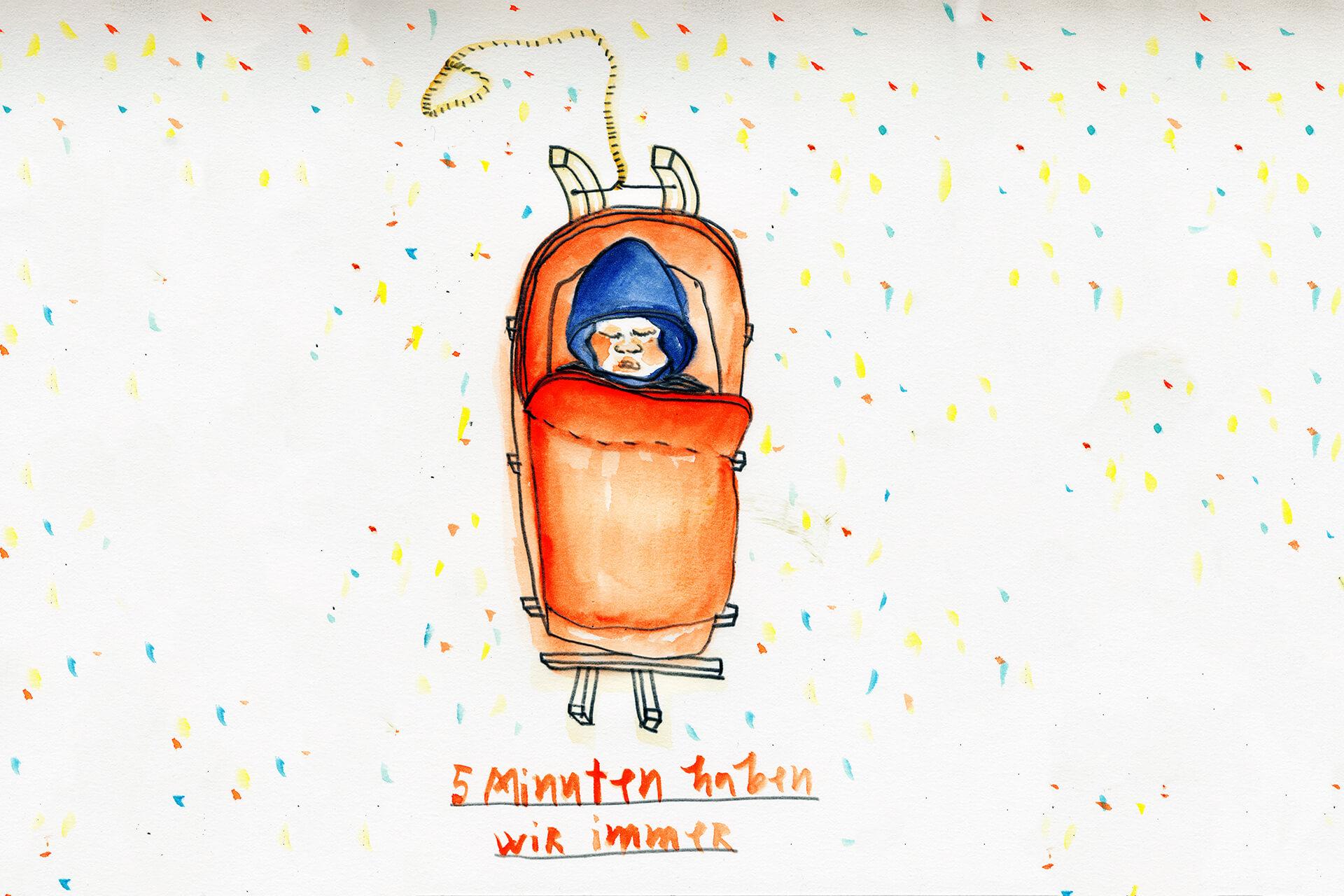 Matrosenhunde, Wochenkalender, Illustration Berlin, text, handlettering, Handschrift, Baby, Schlitten, Schlittenfahren, Winter, Schnee, HYgge, hyggelig, warm, gemütlich, zeichnung