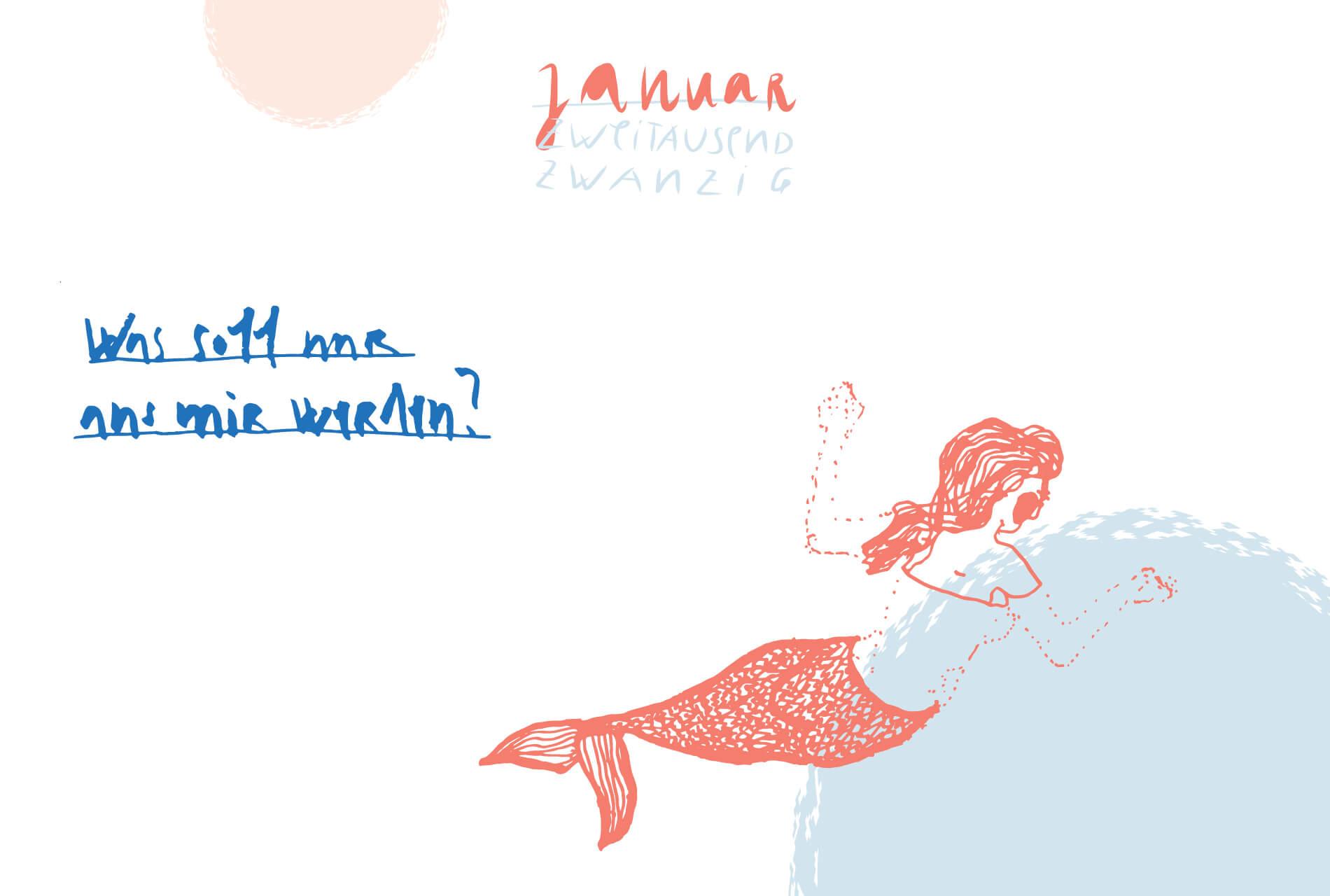Matrosenhunde Illustration Zeichnung Illustratorin Text Prosa Monatskalender Januar Was soll nur aus mir werden