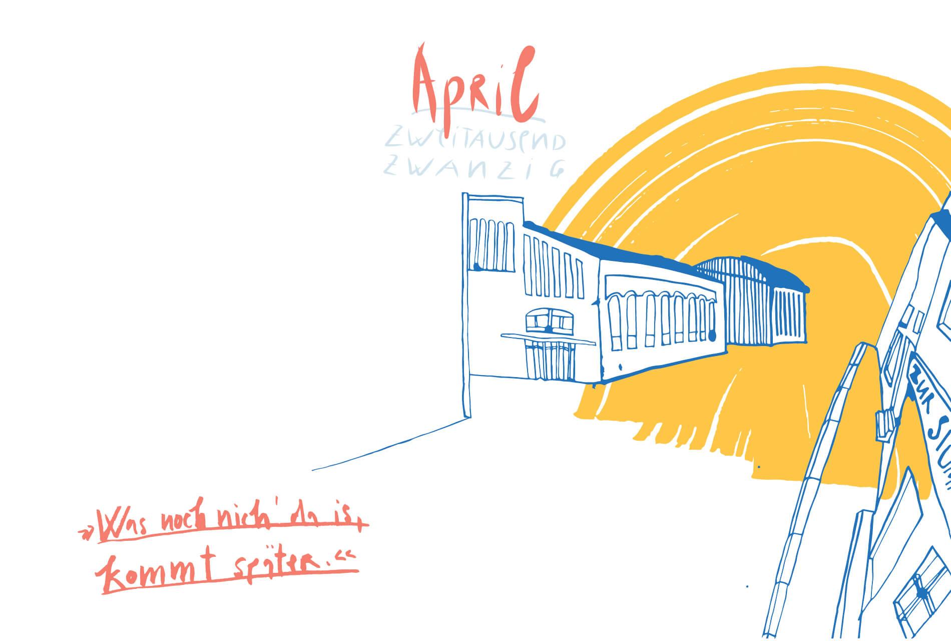 Matrosenhunde Illustration Zeichnung Illustratorin Text Prosa Monatskalender April, was noch nichts da ist, kommt später