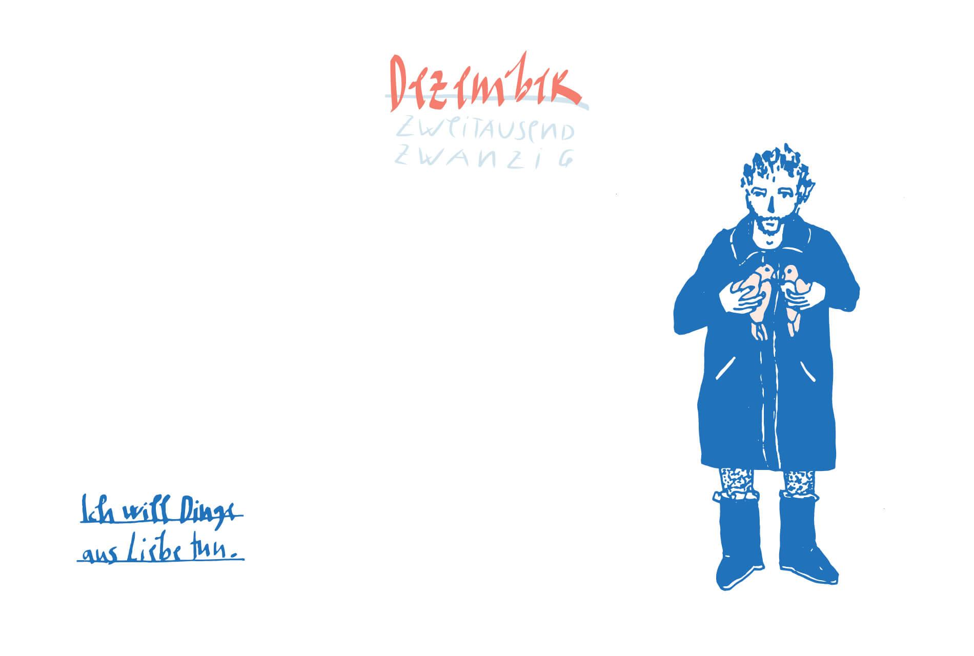 Matrosenhunde Illustration Zeichnung Illustratorin Text Prosa Monatskalender Dezember, ich will dinge aus liebe tun
