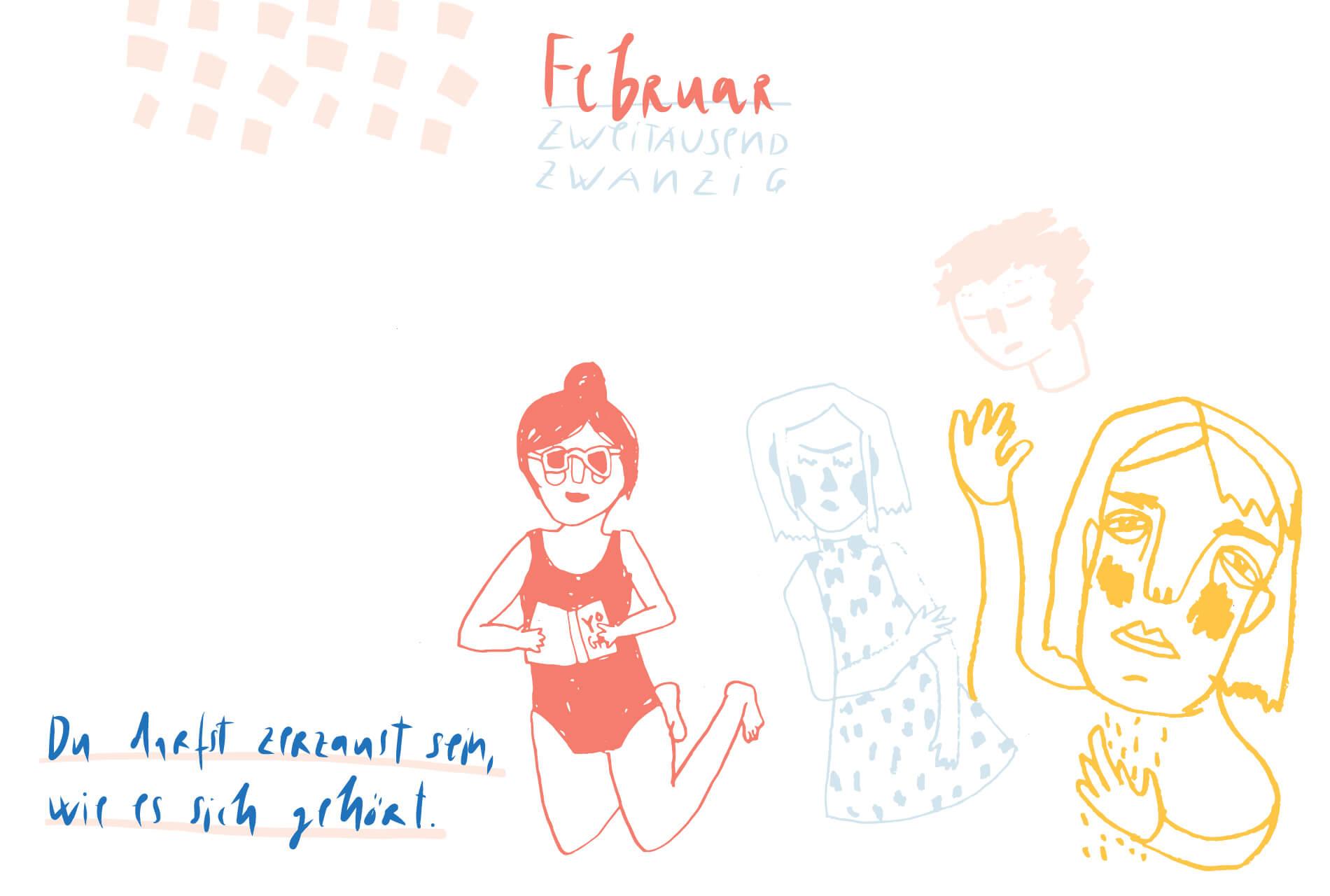 Matrosenhunde Illustration Zeichnung Illustratorin Text Prosa Monatskalender Februar Du darfst zerzaust sein wie es dir gefällt