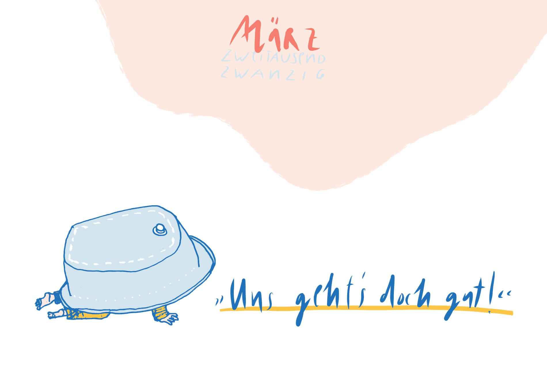 Matrosenhunde Illustration Zeichnung Illustratorin Text Prosa Monatskalender März uns gehts doch gut
