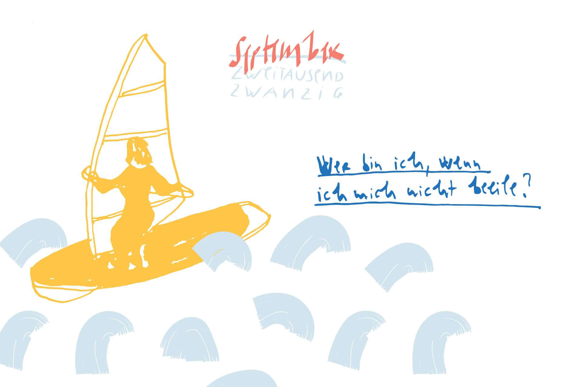 Matrosenhunde Illustration Zeichnung Illustratorin Text Prosa Monatskalender September, Wer bin ich, wenn ich mich nicht beeile