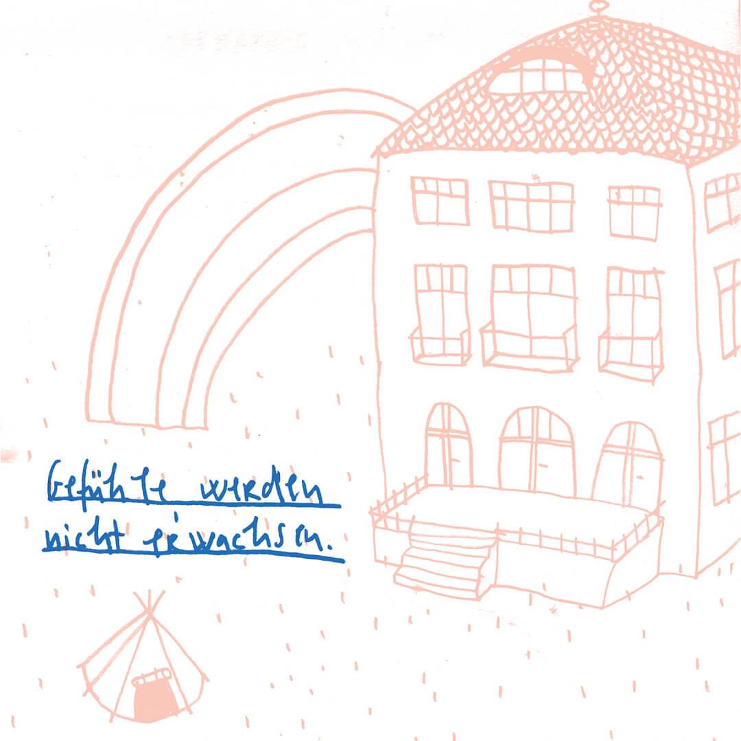 Matrosenhunde, Illustration, Zeichnung, Haus, Regenbogen, Zelt, Gefühle werden nicht erwachsen