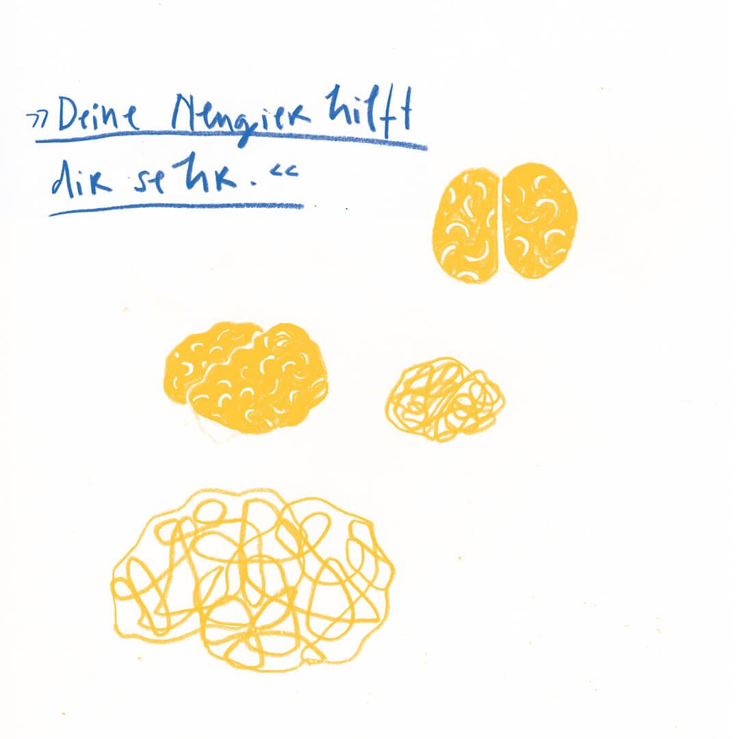 Matrosenhunde, Illustration, Zeichnung, Gehirn, Denken, Deine Neugier hilft dir sehr