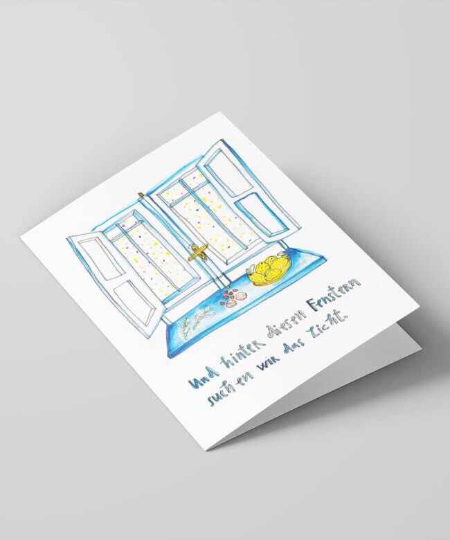 Weihnachtskarte, Neujahrskarte, Matrosenhunde, Illustration, hygge, hyggelig, gemütlich, Gemütlichkeit, Berlin, Vorweihnachtszeit, advent, Fenster, Fensterladen, Fenstersims, drinnen, draußen, Zuhause, zeichnung, Zitronen, Nüsse, Tannenzweig