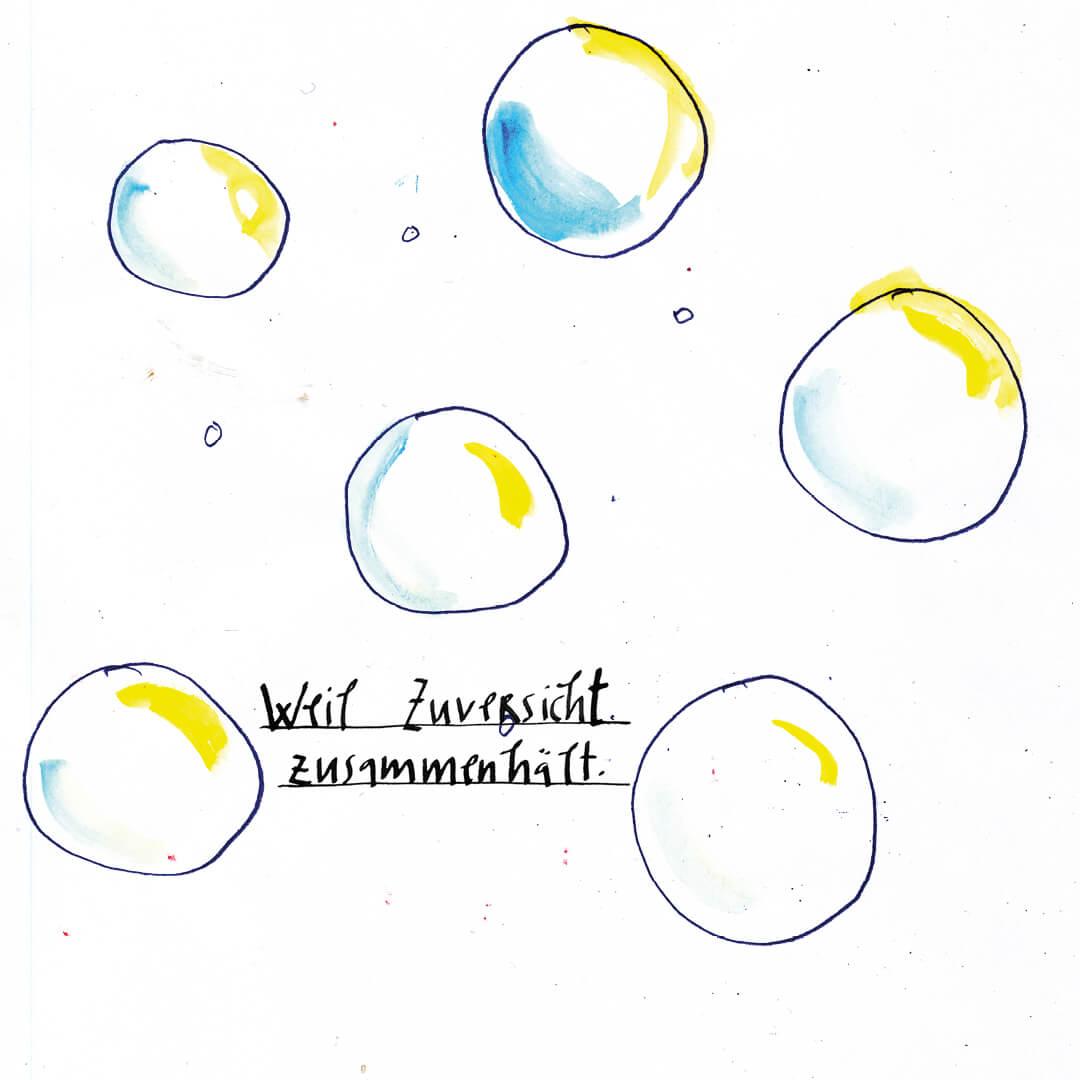 Matrosenhunde, Wochenkalender, weil Zuversicht uns zusammnhält, Seifenblasen, bubbles, Zukunft, Hoffnung, future, hope, illustration, berlin,