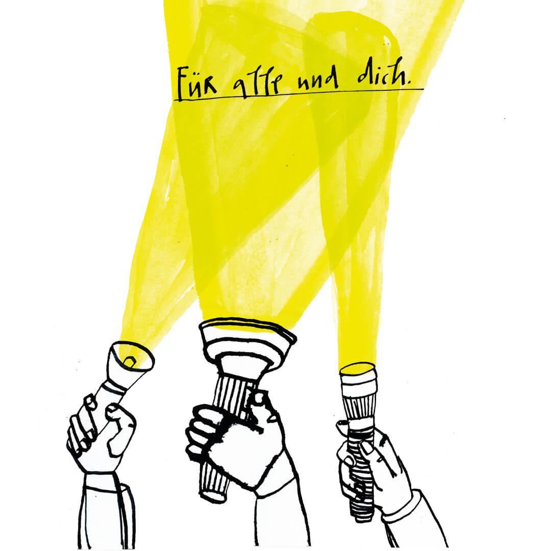 Matrosenhunde, für alle und dich, Taschenlampen, flashlights, einer für alle, alle für einen, Solidarität, solidarity, Licht im Dunklen, gemeinsam mit Abstand, Matrosenhunde, Wochenkalender, Illustration, Berlin